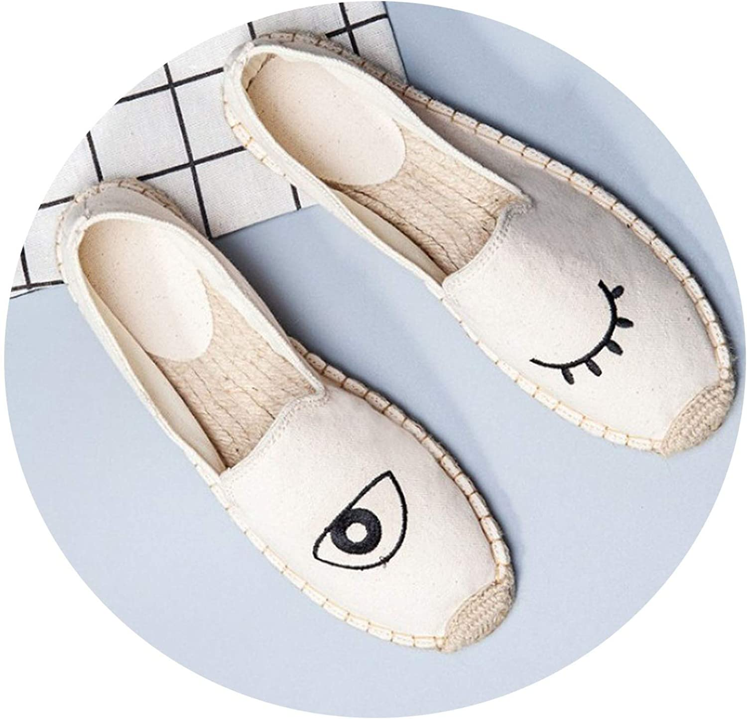 JIESENGTOO Women's Spring Summer Straw National Style Embroidery All-Match Lazy Canvas Ladies shoes Breathable Soft
