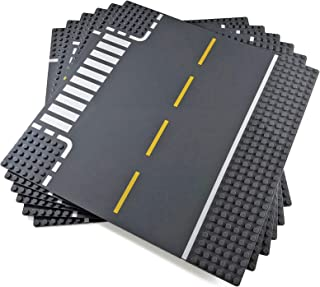 Apostrophe Games Classic Building Block Road Base Plates Compatible with All Major Brands (Roads 6 Pack)