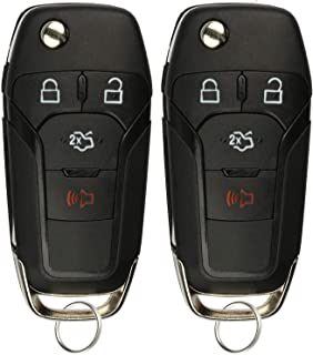 KeylessOption Keyless Entry Car Remote Uncut Ignition Flip Key Fob for 2013-2016 Ford Fusion N5F-A08TAA (Pack of 2)