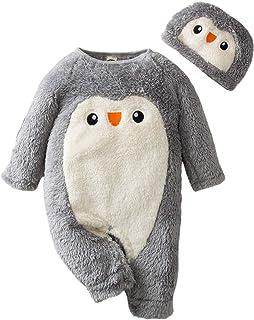 HUBA Neugeborenes Baby Strampler Overall Kleidungsset Fleece Cartoon Jumpsuit  Hut Outfit Winter wärmer Unisex Schneeanzug 0-24 Monate