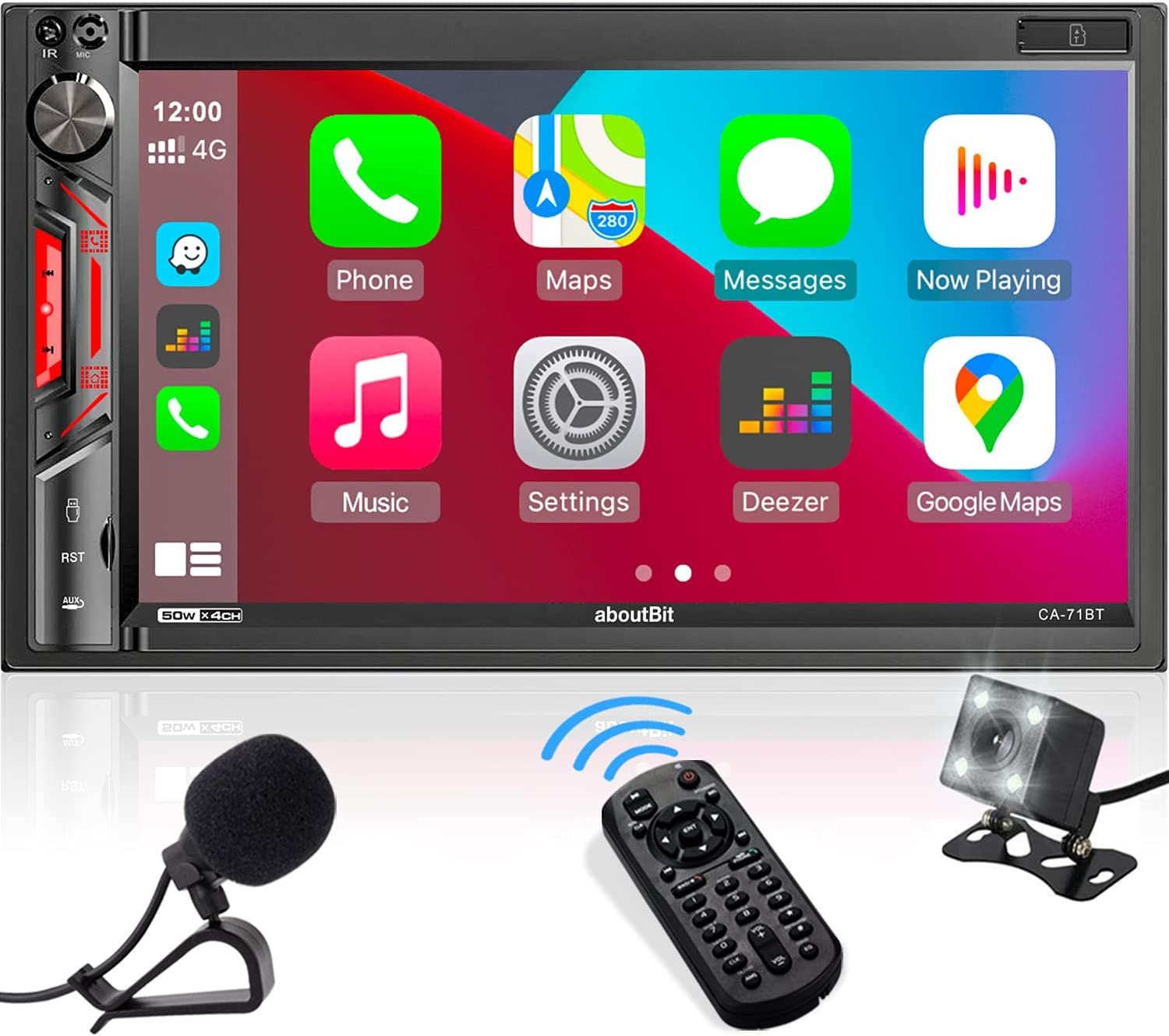 aboutBit Double DIN in-Dash Car Stereo Receiver - CarPlay Multimedia MP5 Player with Bluetooth  Phone Mirroring  7