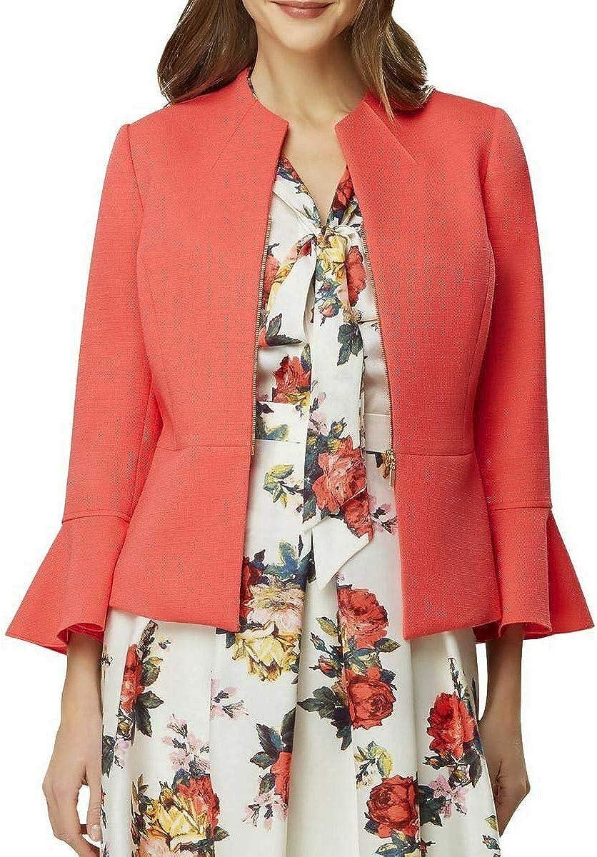 TAHARI Womens Pink Zip Up Jacket Size 2