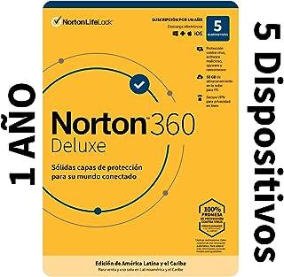 Norton 360 Deluxe - Software Antivirus para 5 Dispositivos con VPN, Copia de Seguridad de 50GB para PC, Control Parental [...