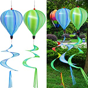 PSMILE Green/Blue Cloud Kinetic Hot Air Balloon Wind Spinner Hanging Rainbow Wind Twister,2pcs