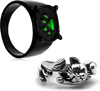MYLY 2PCS Cat Ring for Women Girl,Zinc Alloy Deluxe Cat Noir Ring,Cat Paw Ring,Fashion Rings for Kids Adults Cosplay Acces...