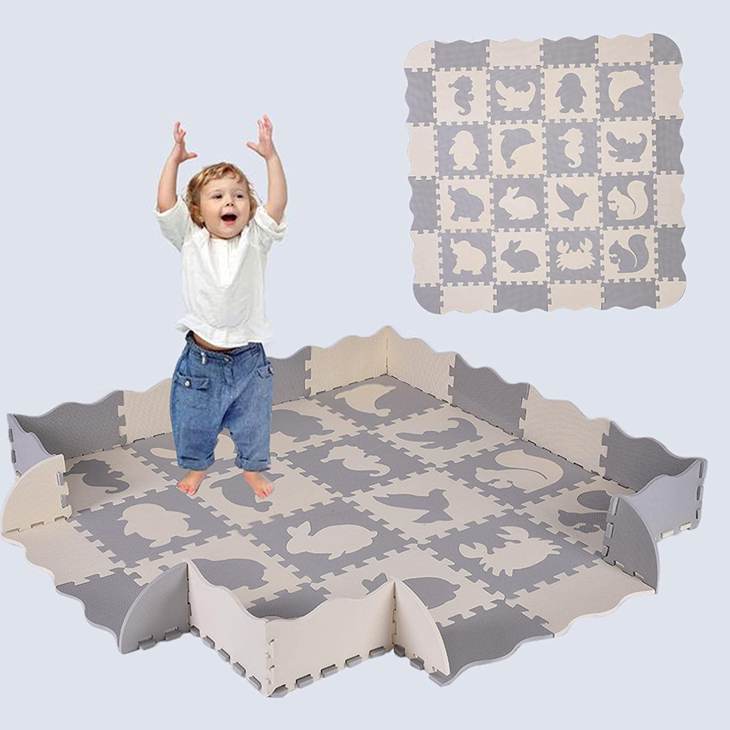 36 PCS Great interest Baby Play Wholesale Mat with Including Different Animals and Fence