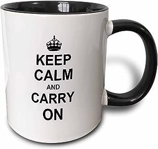 3dRose 157686_4 Keep Calm And Carry On Mug, 11 oz, Black