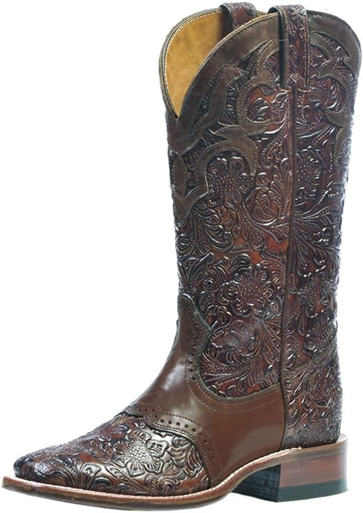Boulet Women's Hand Tooled Ranger Western Boot Square Toe