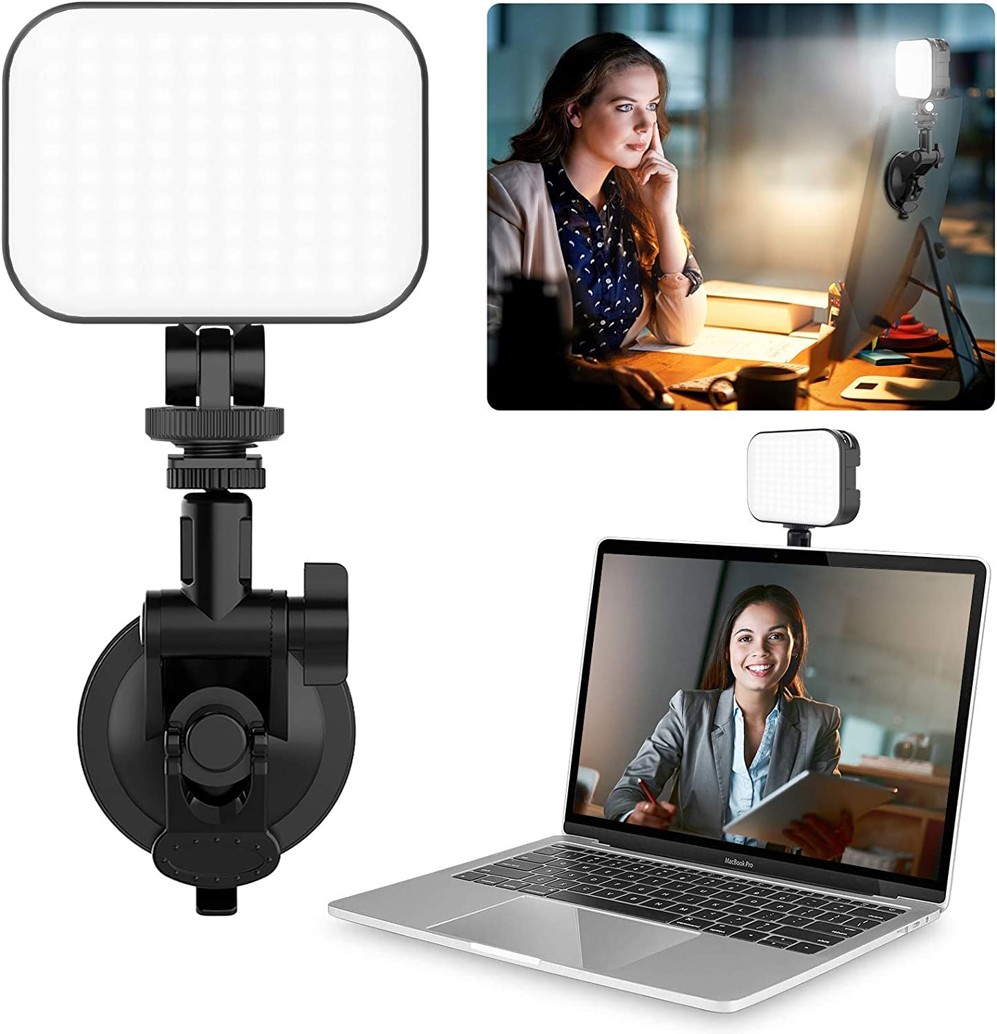 Computer Light for Laptop Video Conferencing, Adjustable Angle Fill Light Panel, Soft LED Webcam Lighting for Remote Work/Online Education/Makeup Live Streaming Evening Work Office PC Accessories