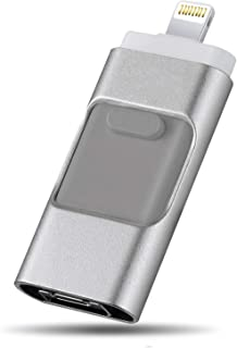 Unidad flash USB iOS, unidad flash Lightning de 32GB, unidad de lápiz OTG 3 en 1 Unidad de disco USB 3.0 Jump Drive U Memory Stick de almacenamiento externo para iPhone, Android, Macbook, iPad, iPod y PC Silver (32GB)