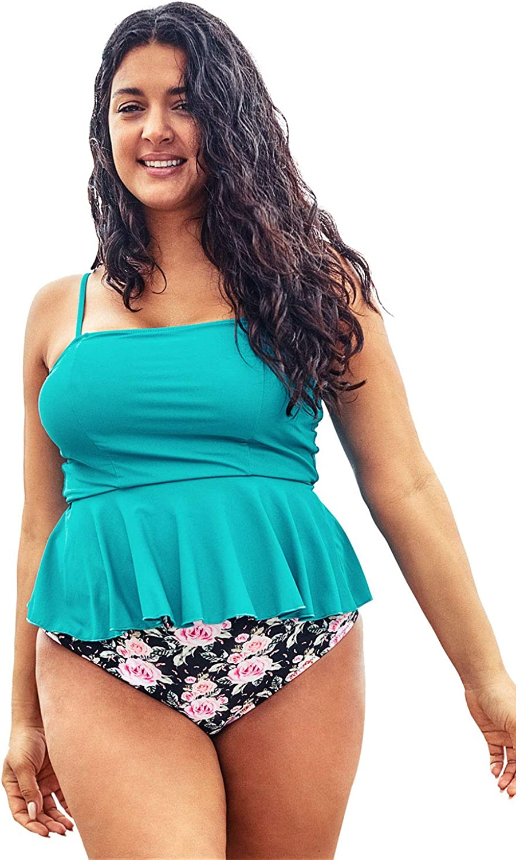 CUPSHE Women's Plus Size Floral Bikini Set Ruffled High Waisted Swimsuit