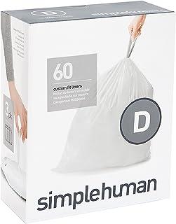 simplehuman code D custom fit liners 3 refill packs (60 liners), Code D - 20L / 5.2 Gallon, White [並行輸入品]