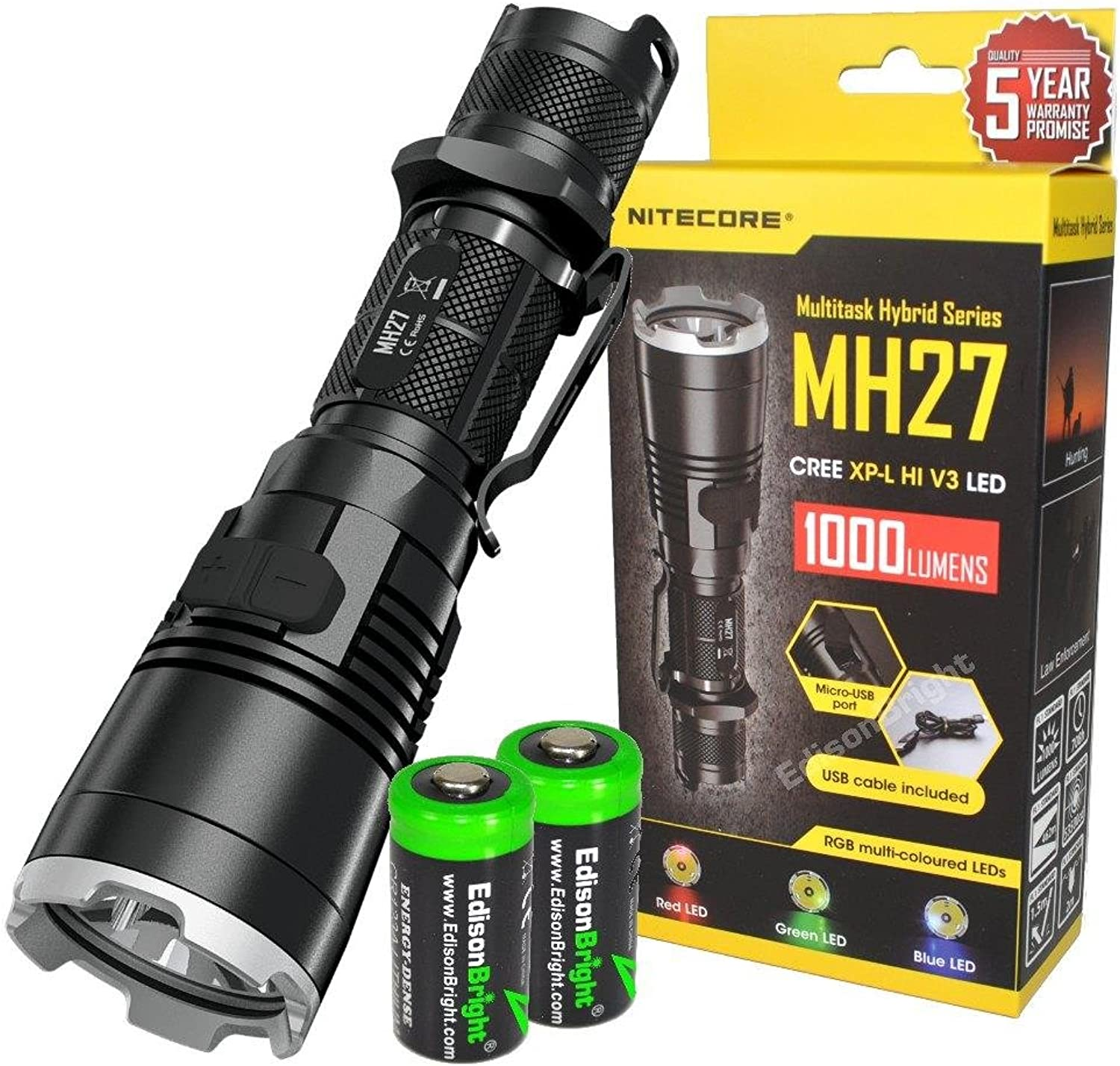 Nitecore MH27 1000 Lumens CREE LED Built in Red, Green, bluee Lights, Strobe, Police Warning Strobe, Rechargeable Flashlight searchlight with 2 X EdisonBright CR123A Batteries