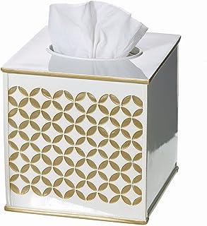 "Creative Scents Gold Tissue Box Cover Square - (6"" x 6"" x 5.75"") - Decorative Bath Tissues Napkin Holder with Bottom Slide..."