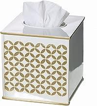 Creative Scents Gold Tissue Box Cover Square - (6 x 6 x 5.75) – Decorative Bath Tissues Napkin Holder with Bottom Slider- for Cute Elegant Bathroom Decor Diamond Lattice Collection