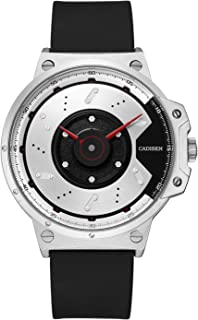 CADISEN Mens Sports Watches Stylish Unique Design Simple Military Waterproof Rubber Band Watches/White