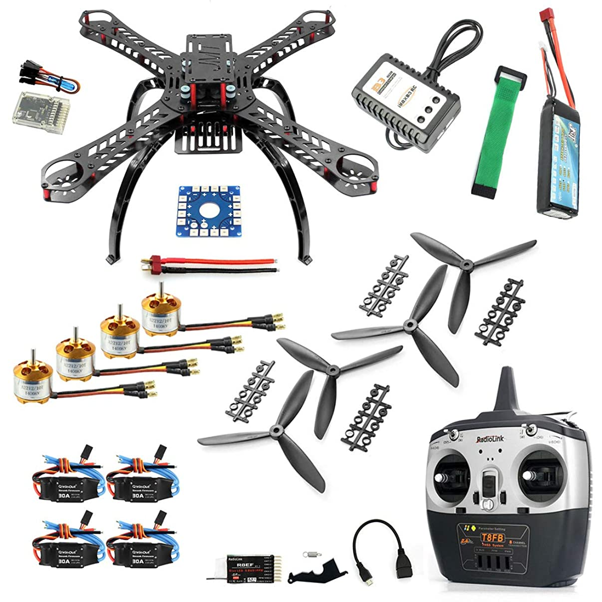 QWinOut QQ Super Multi-Rotor Flight Control DIY 310mm Fiberglass RC Racing Drone Unassembly ARF Combo Set with Radiolink 8CH TX&RX 1400KV Motor 30A ESC