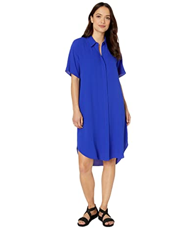 Eileen Fisher Petite Classic Collar Short Sleeve Dress (Royal) Women