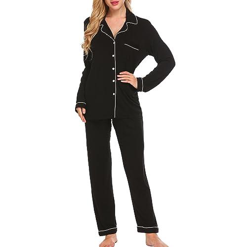 1ec5adc4c8 Ekouaer Pajamas Women s Long Sleeve Sleepwear Soft Pj Set XS-XXL