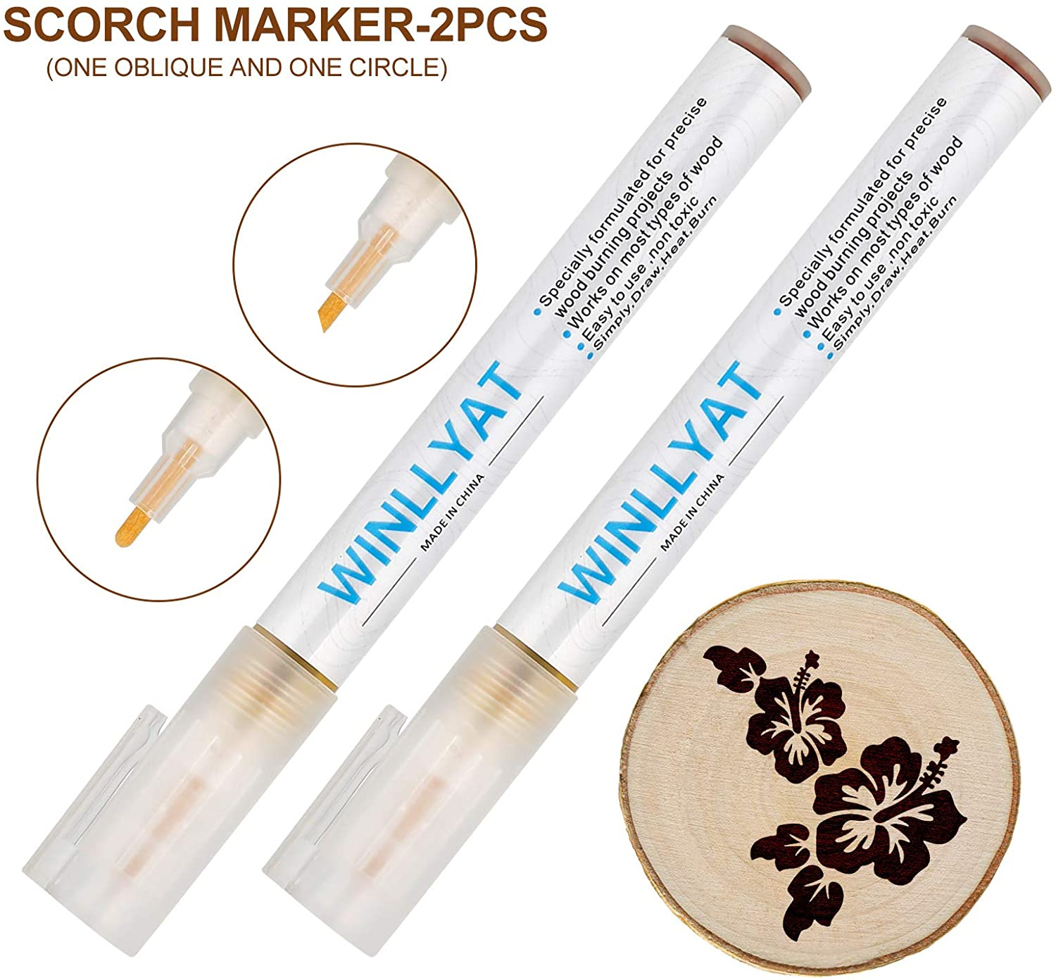 Oblique Head and Round Head 2 PCS Scorch Marker Wood Burning Pen Oblique Head and Round Head Winllyat Chemical Wood Burned Marker Pen for DIY Projects