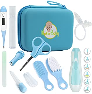 Baby Healthcare and Grooming Kit by Kailexbaby,Baby Electric Nail Trimmer Set, Nursery Care kit,Thermometer, Nasal Aspirator,Newborn Necessities, Fits in Diaper Bag(Blue)