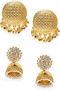 Zaveri Pearls Ethnic Dangler Earrings for Women (Golden) (ZPFK7389)