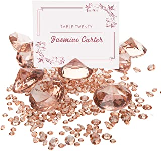 ROSE GOLD Diamond Table Number Holder & Place Card Holders (20 Pieces) and Diamond Table Confetti (with over 6,000 diamonds) Party and Wedding Table Decorations