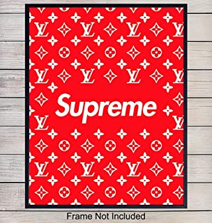 Supreme LV Logo Art Print - Wall Art Poster - Chic Home Decor for Dorm, Office, Living Room, Bedroom, Boys or Teens Room, Dorm - Gift for Men, Louis Vuitton, LV, Bape, Designer Fashion Fans - 8x10