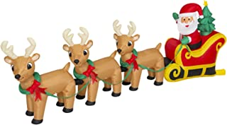 Best Choice Products 9-foot Pre-Lit Inflatable Indoor Outdoor Yard Decoration Santa Claus Sleigh and Reindeer Decor w/ Lights, Stakes, Electric Fan Blower, Multicolor