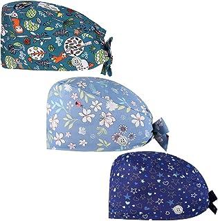 Gedston Cute Print Work Cap مع أزرار وعصابة رأس، Adujstable Tie Back Hats for Women Men