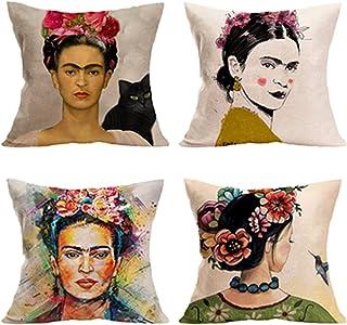 4 piezas para Frida Kahlo autorretrato funda de almohada de algodón y lino, cojín para sofá, funda de almohada para coche, funda de cama 45,72 cm x 45,72 cm