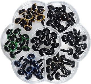 TOAOB 70 Pieces 10mm Yeux de Sécurité en Plastique Multicolore avec 70pcs Rondelles pour Fabrication de Poupées Marionnett...