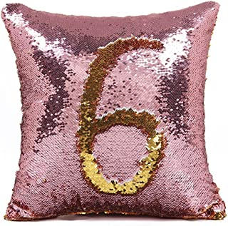 Ainik Mermaid Pillow Case Mermaid Pillow Cover Sequin Throw Pillow Case Decorative Color Change Cushion Cover Sofa Bedroom Car Kids 16 x 16 inches (Pink/Gold)