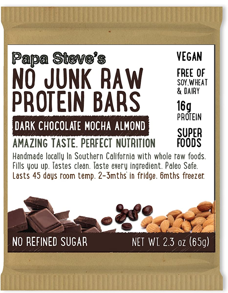 Papa Steve's No Junk Raw Protein Bars, Dark Chocolate Mocha Almond, 2.3 Oz, 10 Count