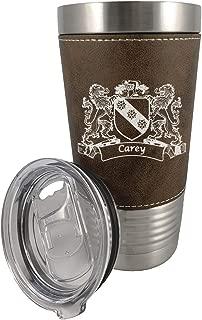 Carey Irish Coat of Arms Leather Travel Mug