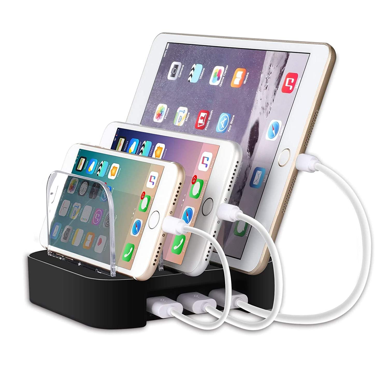 MixMart 3ポートUSB充電器 3台同期 同時充電 充電ステーション デスクトップ 充電スタンド iPhone/iPad/Nexus/Galaxy/タブレットPC 他機種充電対応 スマホ充電 収納 充電台