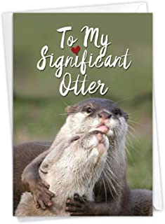 Best Significant Otters - Hilarious Happy Birthday Card with Envelope (4.63 x 6.75 Inch) - Sea Otter Pun, Bday Celebration Note Card - Animal Lovers, Appreciation Stationery Greeting Card C5528BDG Review