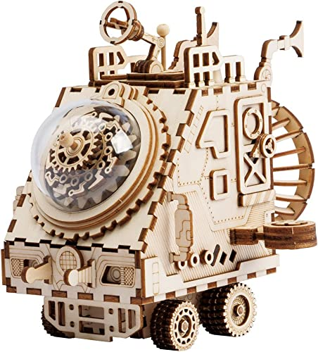 discount ROKR popular 3D 2021 Assembly Puzzle Build Your Own Wooden Music Box Craft Kits, Brain Teaser Gifts for Kids and Adults (Spaceship) sale
