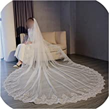 5 Meter White Ivory Cathedral Wedding Veils Long Lace Edge Bridal Veil With Comb Wedding Accessories Bride