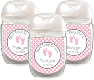 Set of 30 Personalized Pink Baby Feet Hand Sanitizer Labels - Customized Stickers for Baby Shower Favors - Mini Sanitizer Labels - Labels ONLY (HSL119)