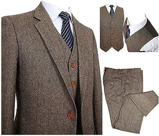 Premium Men's Tweed Herringbone Khaki Tan Tuxedos Slim Fit Groom Formal Wedding Vintage 3 Pieces Suit