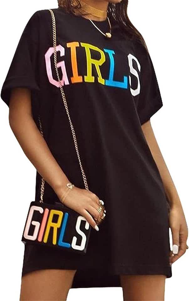 Antique Style Women Short Sleeve Letters Print Black Tees Tunic Top Basic T-Shirt Blouse Dress