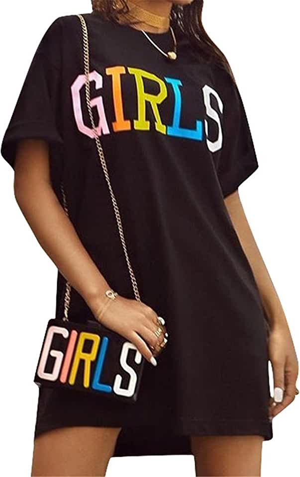 Antique Style Women Short Sleeve Letters Print Black Tees Tunic Top Basic T-Shirt Blouse Dress