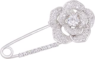 OBONNIE Silver Tone Sparking Micro Pave Layered Petal CZ Rose Flower Cardigan Sweater Safety Pin Brooch
