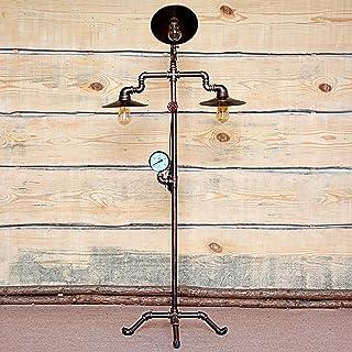 BXZ Lampadaire Rétro Vintage, Fer Forgé et Lampadaire En Cuivre Antique E27 Lampe Sur Pied Industrielle 3 Têtes Tuyau D'ea...
