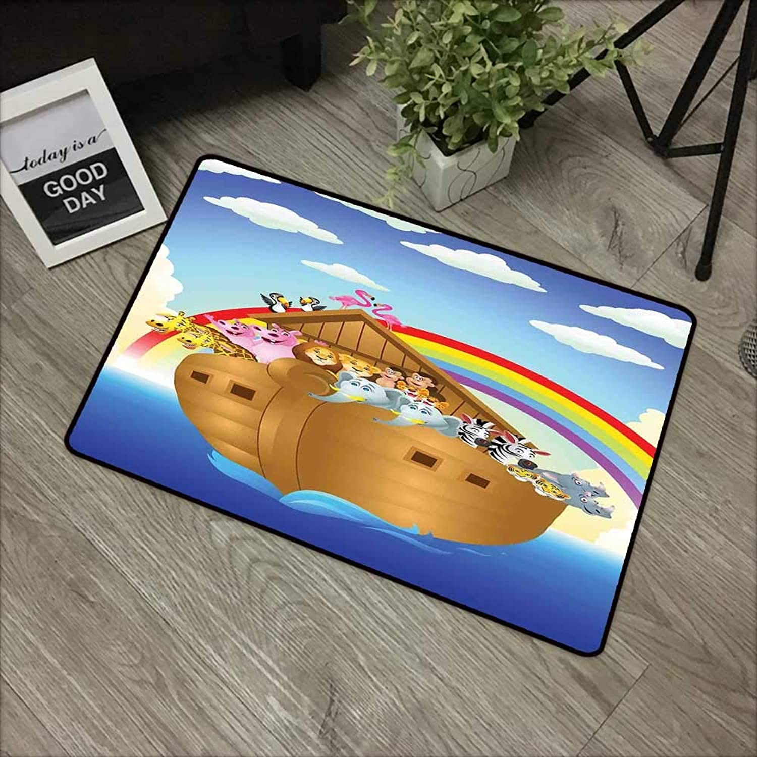 Pool Anti-Slip Door mat W35 x L59 INCH Cartoon,Cute Animals in The Ark Sailing in Sea Ship Old Story with Setting Sun Rainbows,Multicolor with Non-Slip Backing Door Mat Carpet