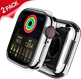Uitee 2-Pack Apple Watch Screen Protector with Gift Watchband, Apple Watch Band 38MM 40MM 42MM 44MM, Full Protective Cases Cover Backup Compatible for 2019 Apple Watch Series 5, iWatch Series 1/2/3/4