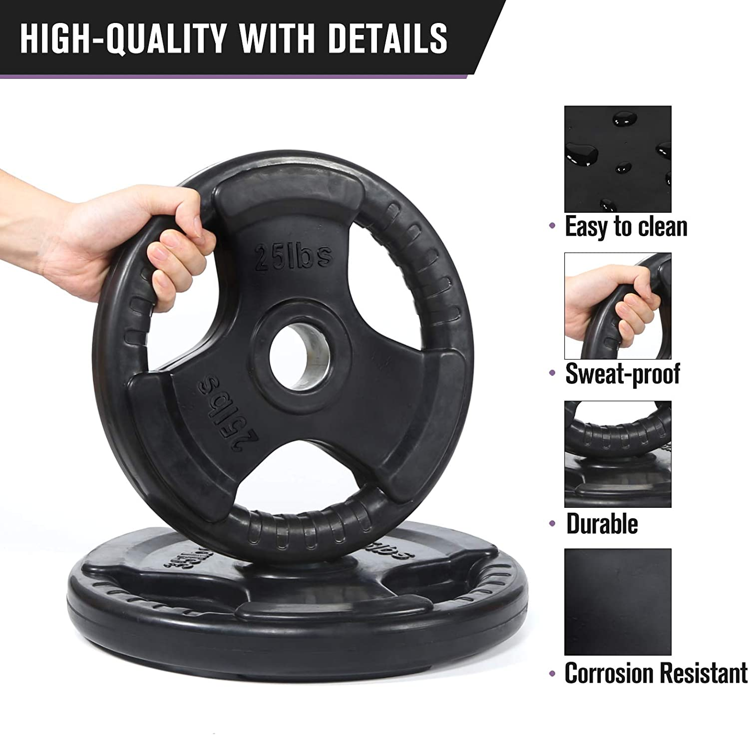 2.5//5//10//25//35//45 LB 2-Inch Weight Plates for Weightlifting and Strength Training in Home /& Gym RitFit Olympic Rubber Grip Plates for Barbell /…
