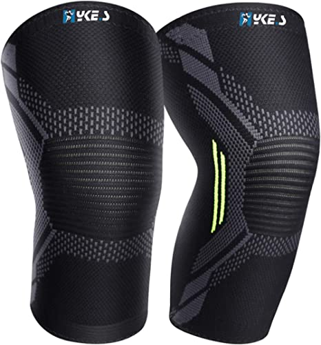 Hykes Knee Cap Compression Support for Gym Running Cycling Sports Jogging Workout Pain Relief