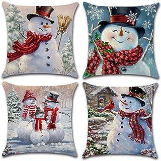 Funda de almohada navideña de 4 piezas, funda de cojín decorativa de lino, almohada con patrón de muñeco de nieve de invie...